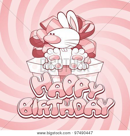 Greeting card for birthday with a sweet rabbit sitting on the present