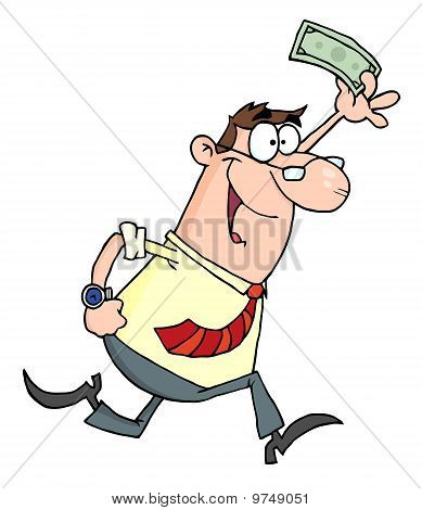 Lucky Businessman Running With Dollar In Hand