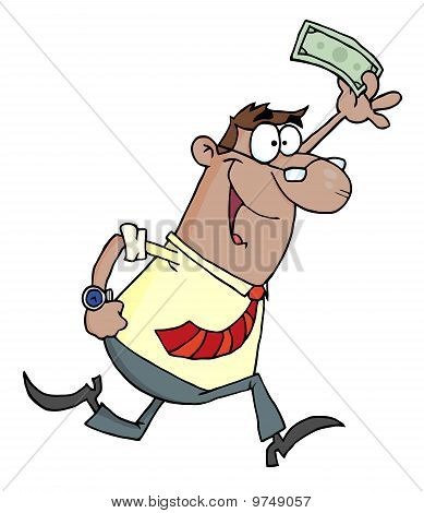 Hispanic Businessman Running And Holding Up Cash