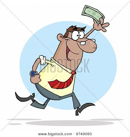 African American Businessman Running With Dollar In Hand