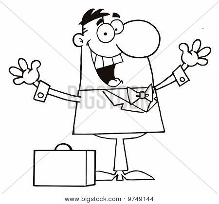 Happy Businessman Holding His Arms Up By A Briefcase