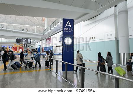 HONG KONG - DECEMBER 11, 2014: Hong Kong International Airport. The one of the best airport in the annual passenger survey by Skytrax.
