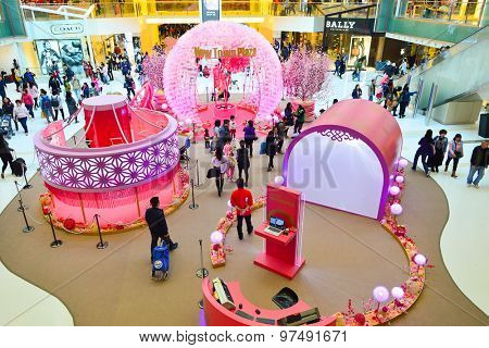 HONG KONG - FEBRUARY 04, 2015: shopping center interior before Chinese New Year. In Hong Kong a wide selection of clothing boutiques, designer flagship stores, restaurants, daily shows and exhibitions