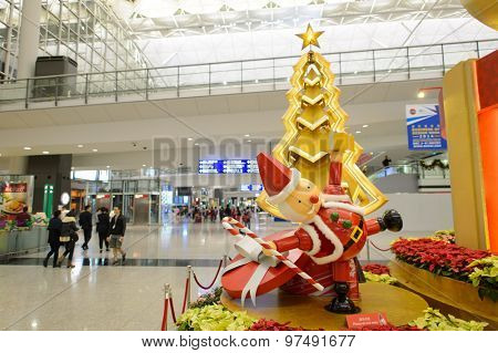 HONG KONG - DECEMBER 10, 2014: Hong Kong International Airport. The one of the best airport in the annual passenger survey by Skytrax.