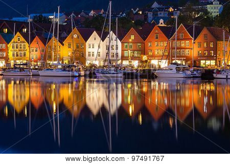 Bryggen Houses At Night