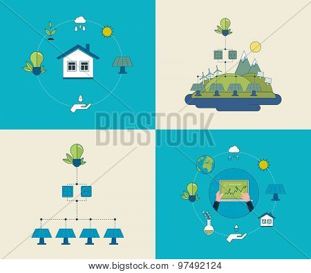 Flat design vector concept illustration with icons of ecology, environment and eco friendly energy.