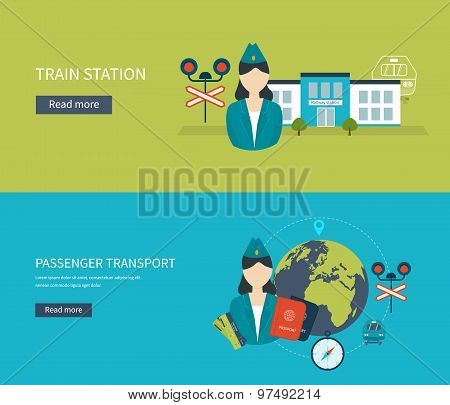Railway station concept. Passenger transport concept. Train on railway.