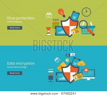 Set of flat design vector illustration concepts for data protection and internet security. Data prot