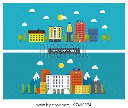 Flat design modern vector illustration icons set of urban landscape and city life.