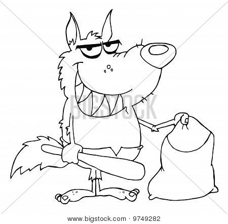 Outlined Smiled Werewolf Holding Club And Bag