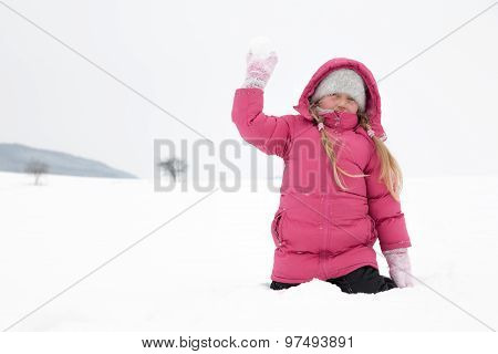 Girl Playing With Snow Outdoor