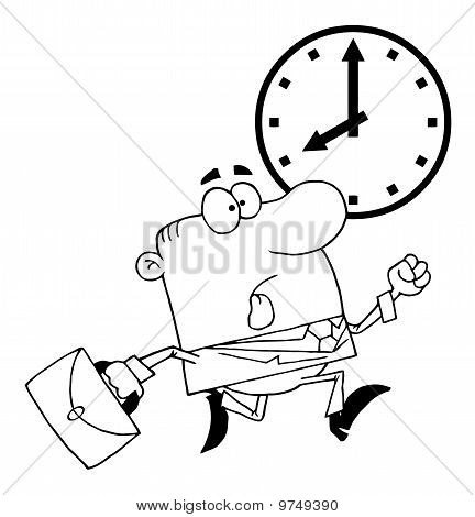 Outlined Businessman Being Late