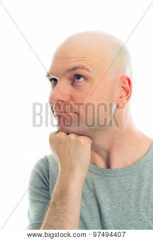 Funny Man With Bald Head  Is Refacting