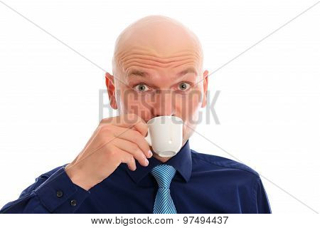 Young Man With Bald Head Drinking Espresso