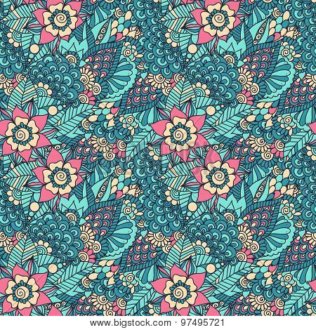 Indian floral seamless pattern
