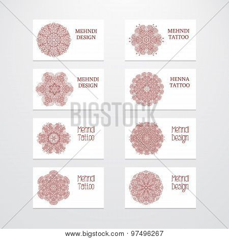 Set of business card templates mehndi design