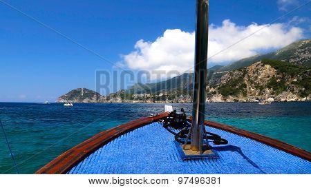 View From A Boat On The Aegean Sea At Paleokastritsa, Greece
