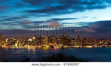 San Francisco Bay Bridge And Skyline At Night