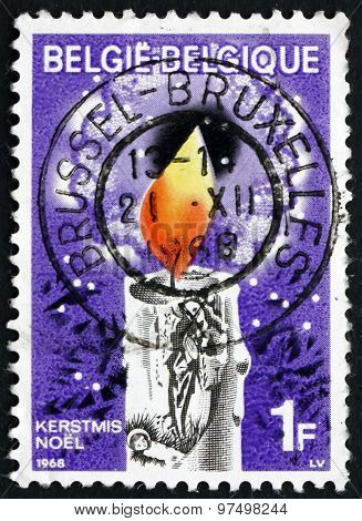 Postage Stamp Belgium 1968 Christmas Candle