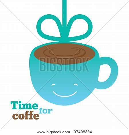 Coffee card with smiling cup of coffee.