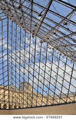 Paris, France - May 14, 2015: Glass Pyramid Entrance To The Louvre Museum In Paris