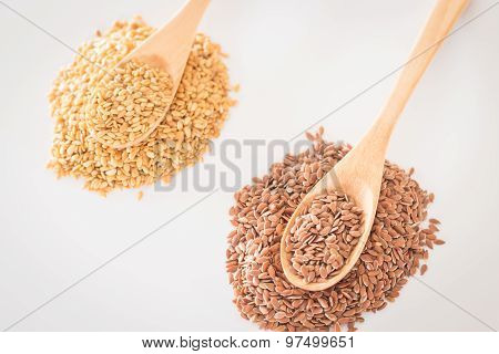 Spoon Of Flax Seed On Clean Kitchen Table