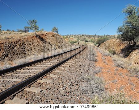 The Ghan railway track from north of Alice Springs