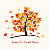 stock photo of maple tree  - Vector Autumn Tree on the ground with space for your text - JPG