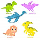 Постер, плакат: Baby dinosaur set vector illustration Fun dinosaur animal vector Cute happy colorful cartoons