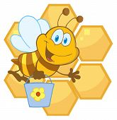 foto of honey bee hive  - Bee Cartoon Character In Front Of A Orange Bee Hives - JPG