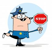 picture of sherif  - White Police Officer Holding A Stop Sign And Club - JPG