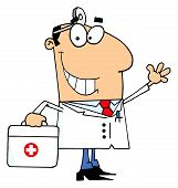 foto of first aid  - Smiling And Waving Caucasian Male Doctor With A First Aid Kit And Head Lamp - JPG