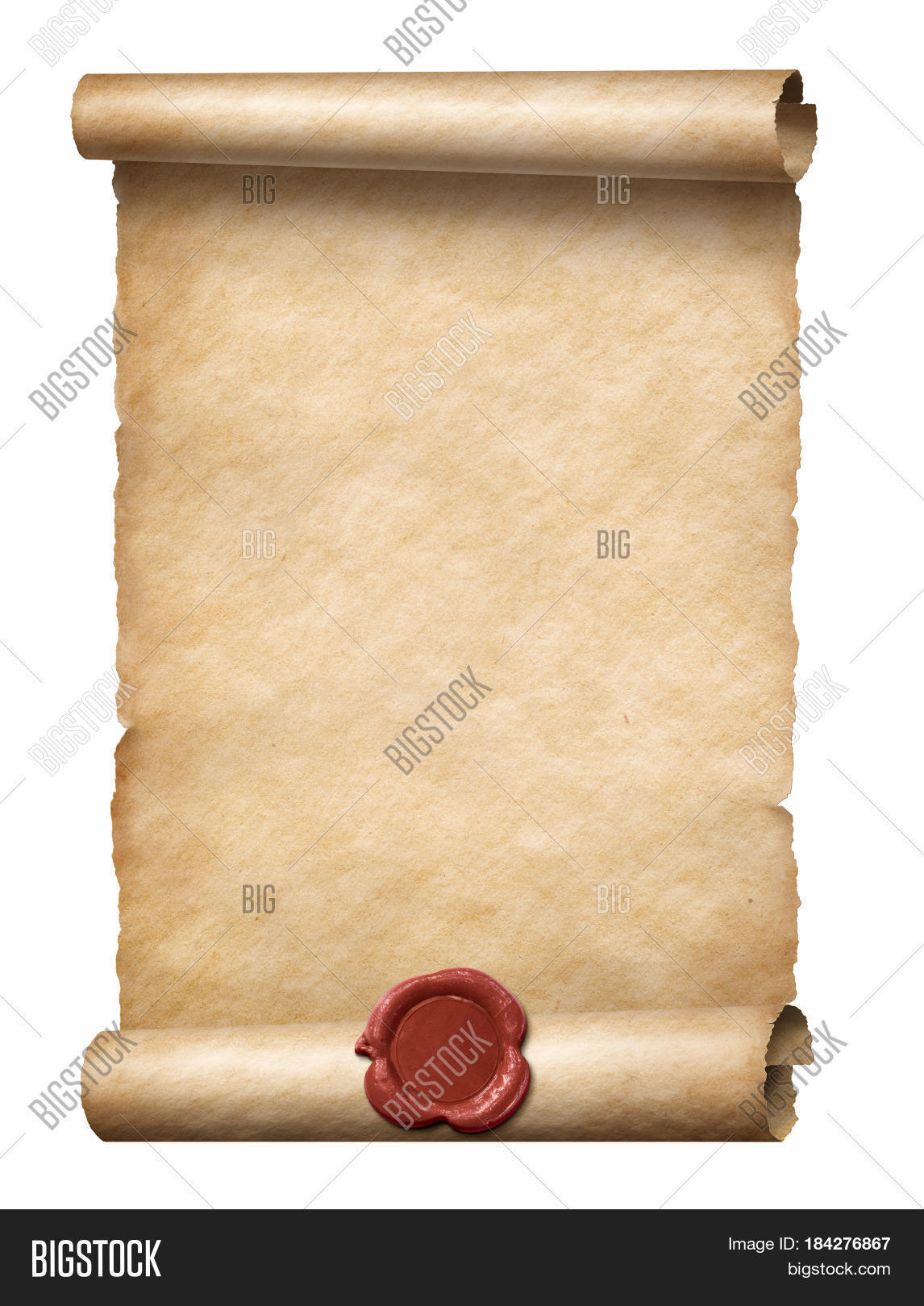 3d Scroll Of Parchment Photo: Old Scroll Red Wax Seal 3d Image & Photo