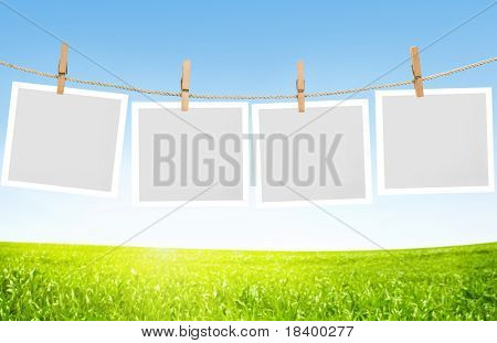 Blank paper sheets on a clothes line