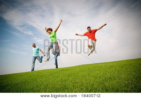 friends jumping and running