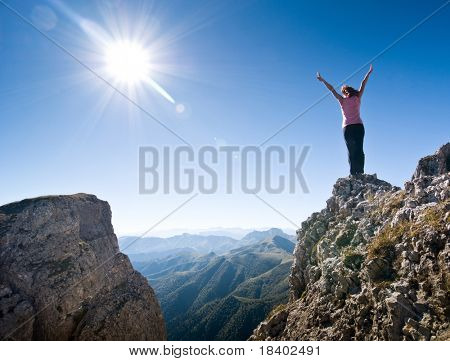 woman hiking in a mountain