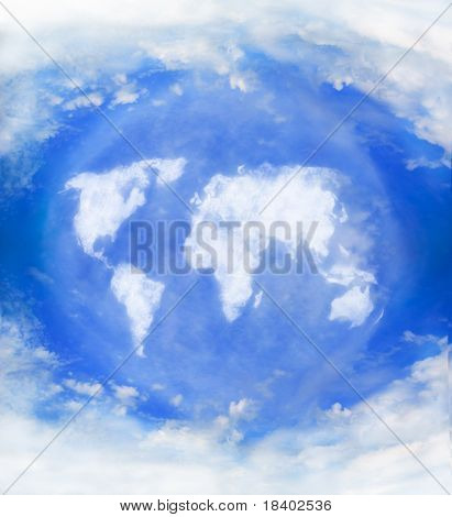 world map shaped clouds i
