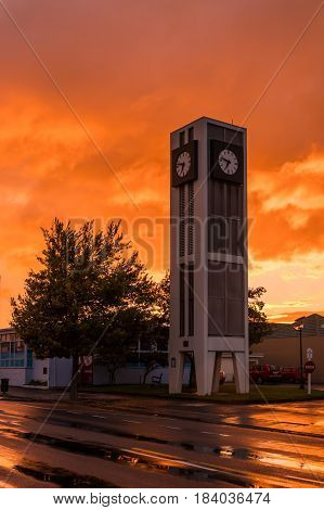 The town clock of Carterton New Zealand. With a wonderful morning sky behind it.