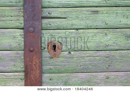 wooden, vintage door with iron lock