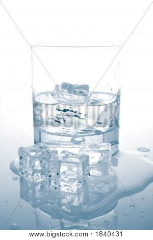 Mineral Water With Ice Cubes