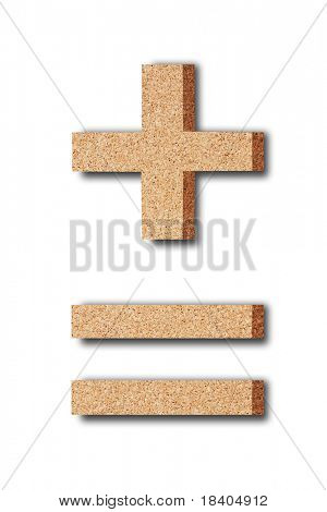 3d rendering of the plus minus and equal sign  in cork on a white isolated background
