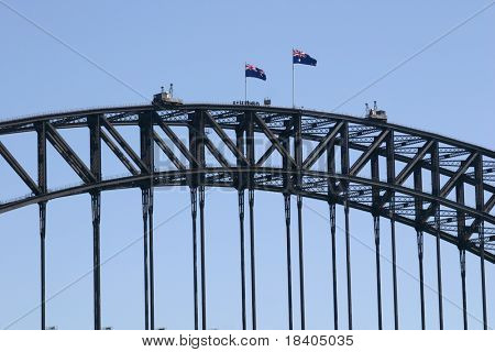 A group of people at the top of the sydney harbour bridge
