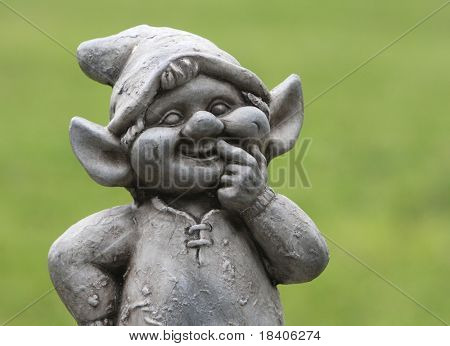 Funny dwarf, gnome with green background