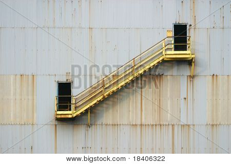 industrial stairs on an outside wall