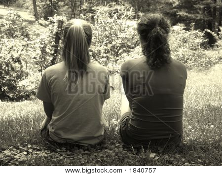 Friendship Girls In Aged Black And White