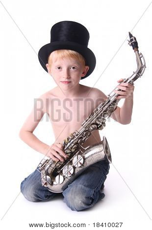 Young sax player with stovepipe hat isolated on white background