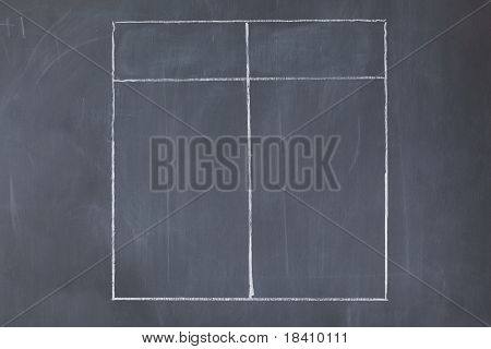 Empty Table On A Blackboard
