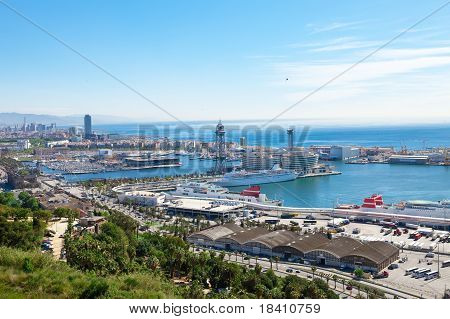 Spain. Barcelona. The top view on seaport.