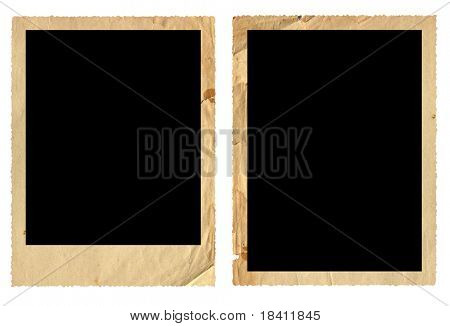 Ancient photo frames isolated on white
