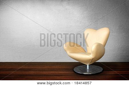 modern chair in vintage interior room